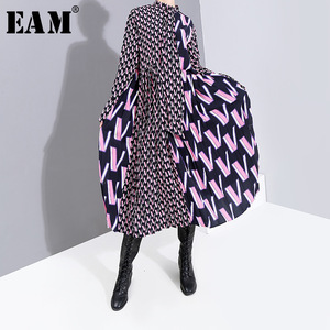 Image 1 - [EAM] Women Pattern Print Split Temperament  Dress New Bow Collar Long Sleeve Loose Fit Fashion Tide Spring Autumn 2020 19A a872
