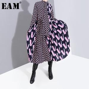Image 1 - Женское платье с принтом EAM, свободное платье с длинными рукавами и бантом, весна осень 2020, 19A a872