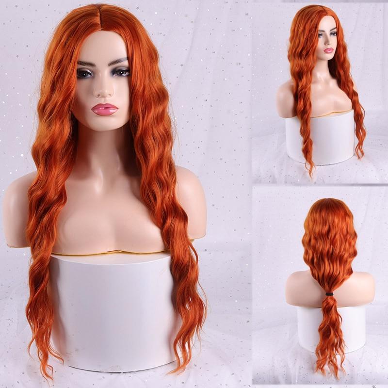 Ondulada com Franjas Resistente ao Calor Sintética para Mulheres Merisi Hair Peruca Longa Loira Vermelha Preta Afroamericana