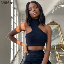 Nibber Stylish Croped Backless Rib Knit Crop Top Women Off Shoulder Casual Tie Up Streetwear Irregular Pure Skinny Club Clothes