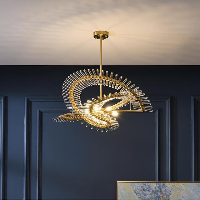 الحديثة الفاخرة كريستال الثريا مطعم فيلا مستديرة دوبلكس بناء LED مصباح مصمم معرض مصباح لغرفة المعيشة