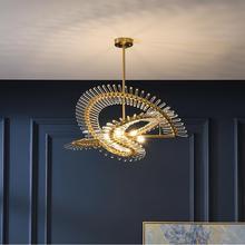 Modern lüks kristal avize restoran yuvarlak villa dubleks bina LED lamba tasarımcı sergi oturma odası lamba