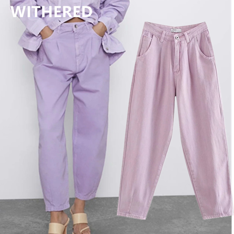 Withered Summer England Vintage Purple Color Mom Jeans Woman Turnip Pants High Waist Jeans Pleated Boyfriend Jeans For Women