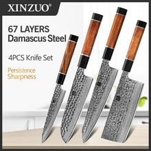 XINZUO-Juego de cubiertos de acero de Damasco para cocina, utensilios de cocina de corte de Chef, Santoku, núcleo vg10, 4 Uds.
