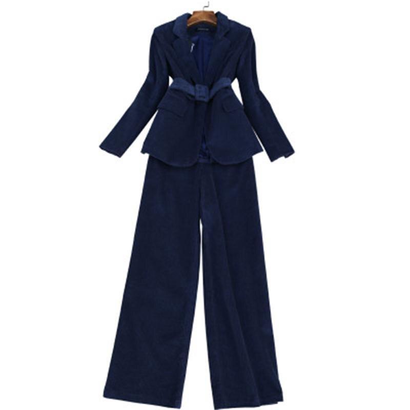 Fashion Pants Suit Female Spring New High Quality Casual Business Corduroy Suit + High Waist Wide Leg Pants Two-piece Set