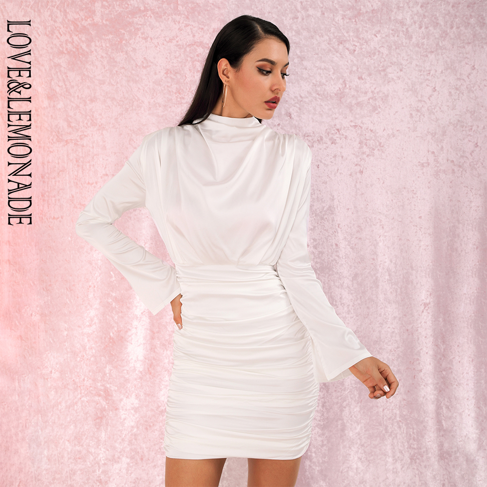 Love&Lemonade White High Collar Loose Upper Body Pleated Decoration Elastic Rayon Bodycon Going Out Party Dress LM81722 image