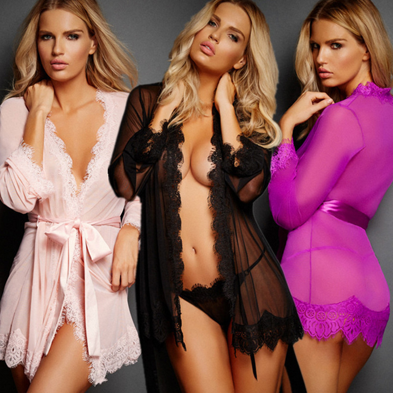 Women Sexy Lace Underwear Erotic Outfit Dressing Gowns For Women Sexy Lingerie Women's Nightgown Net Yarn Silk Robe Sleepwear