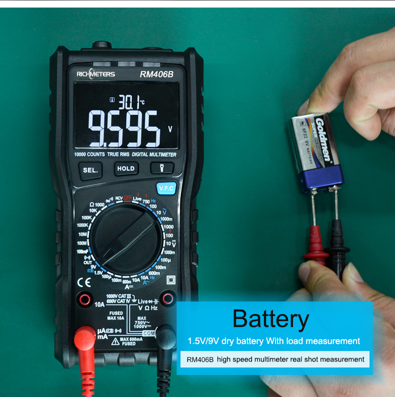 RM406B Digital Multimeter with 10000 Counts and Anti Burn Alarm for AC Voltage and Current Frequency Test 20