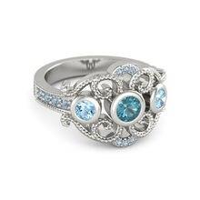 FDLK-Anillo de aleación de Zinc con incrustaciones de cristal azul para mujer, joyería nupcial, elegante