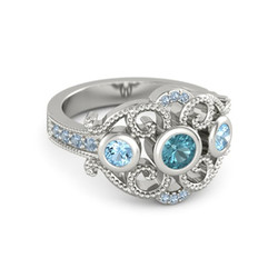 FDLK     Elegant Ladies Fashion Zinc Alloy Ring Round Blue Crystal Inlaid Bridal Wedding Jewelry