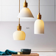 Modern White LED Ceramics Pendant Lights Lighting Nordic Personality Bedside Lamp Living Room Restaurant Cafe Deco Light Fixture