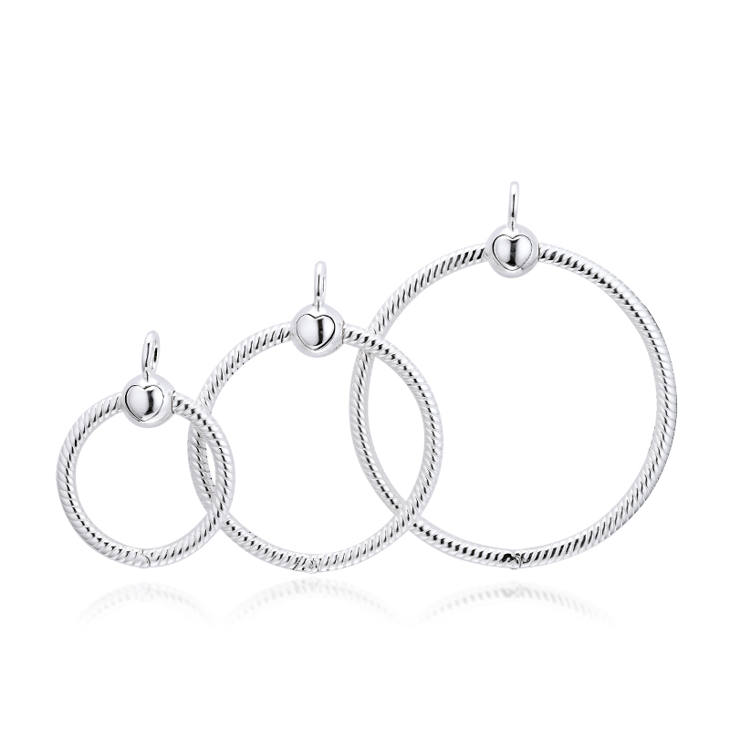 Round Charm 100% 925 Sterling Silver Moments Small Medium Large O Slider Pendants DIY Necklace Fit Charm Beads 2019 Autumn New
