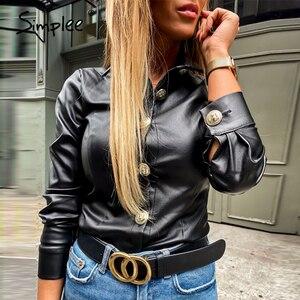 Image 3 - Simplee בציר ארוך שרוול נשים חולצה חולצה מזדמן תורו למטה צווארון שחור חולצה חולצה משרד ליידי כפתור עור מפוצל חולצה