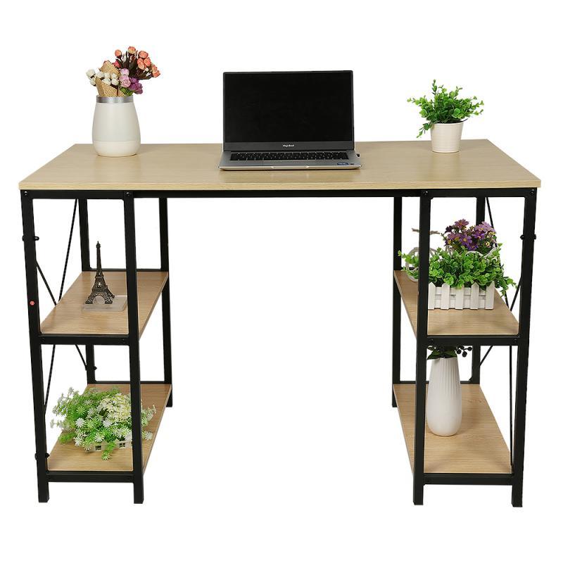 High Quality Wood Computer Desk Laptop Desk Writing Desk 4 Tiers Bookshelf Modern Computer Desk For Home Office Work Furniture