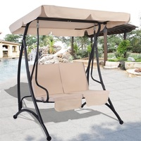 2 Person Patio Canopy Swing Chair Waterproof Top Canopy Durable Sturdy Swings with Comfort Thick Seat Back Cushion OP3003BE
