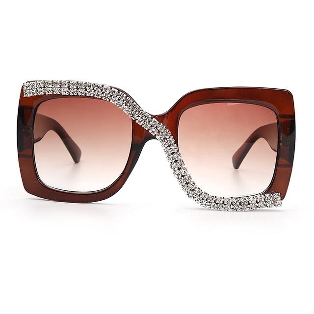 Diamond Square Sunglasses Women 2020 Luxury Vintage Oversized Sunglasses Unique One Piece Rhinestone Glasses Shades gafas de sol 3