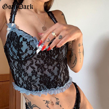 Camis Crop-Tops Lace Goth Dark Patchwork Backless Bodycon E-Girl Sexy Women Sleeveless