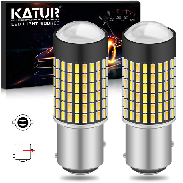 Katur 2pcs Dual Color 1157 BAY15D Led Bulbs For Cars Switchback Orange/White Led Turn Signal Lights With DRL Function 1200Lm