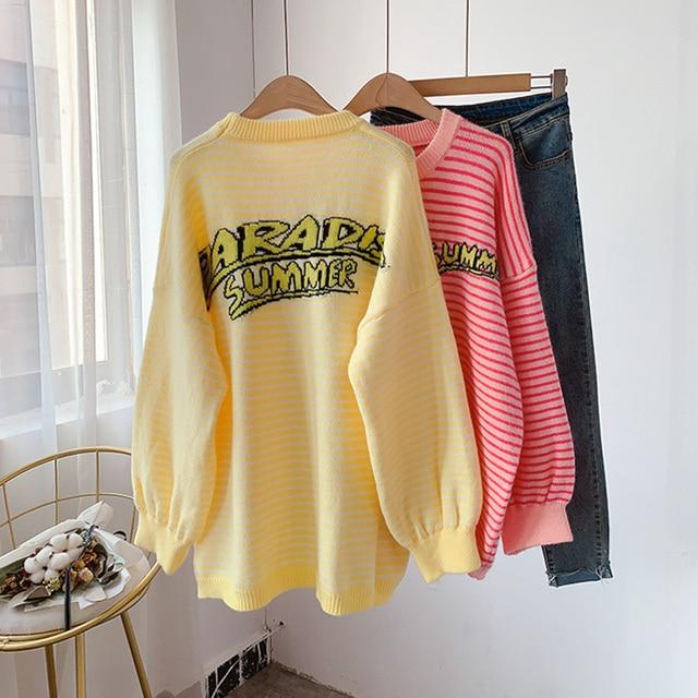 H.SA hiver Pull pulls pour femmes surdimensionné rayé pulls jaune rose mignon chandails lettres imprimé décontracté Pull tricoté