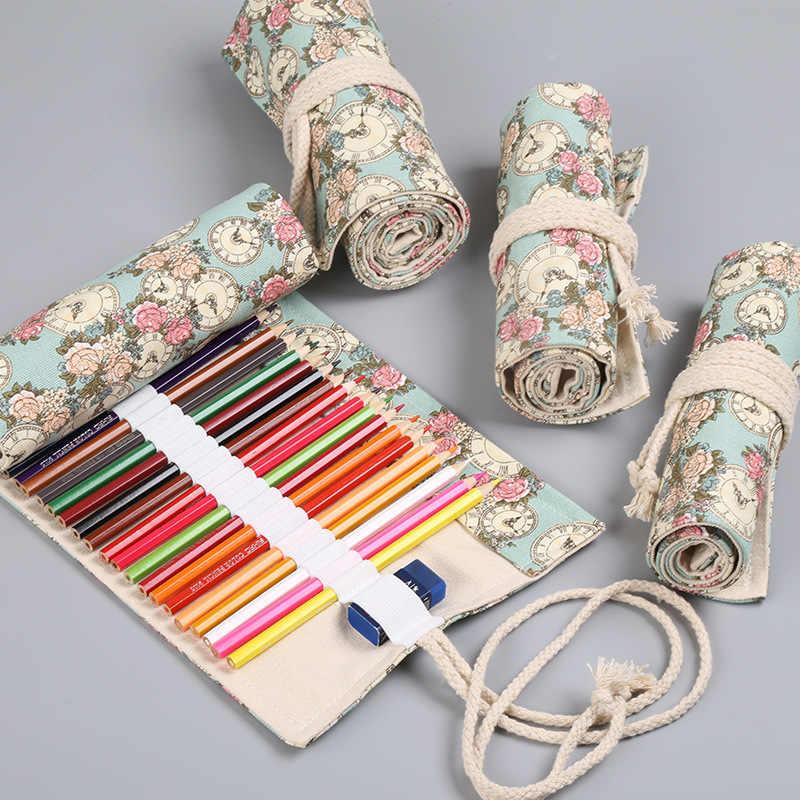 น่ารัก Rose นาฬิกา ROLL ดินสอ 36/48/72 หลุมโรงเรียน Pencilcase สำหรับหญิง Big ตลับหมึกขนาดใหญ่ปากกากระเป๋าเครื่องเขียน