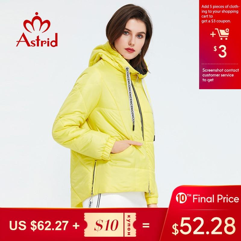 Astrid 2020 Spring Women Parka  Tide Brand  Coat Warm Jacket  Bright Women's Jacket Thin Cotton  Casual  Short  Big Size ZM-3555