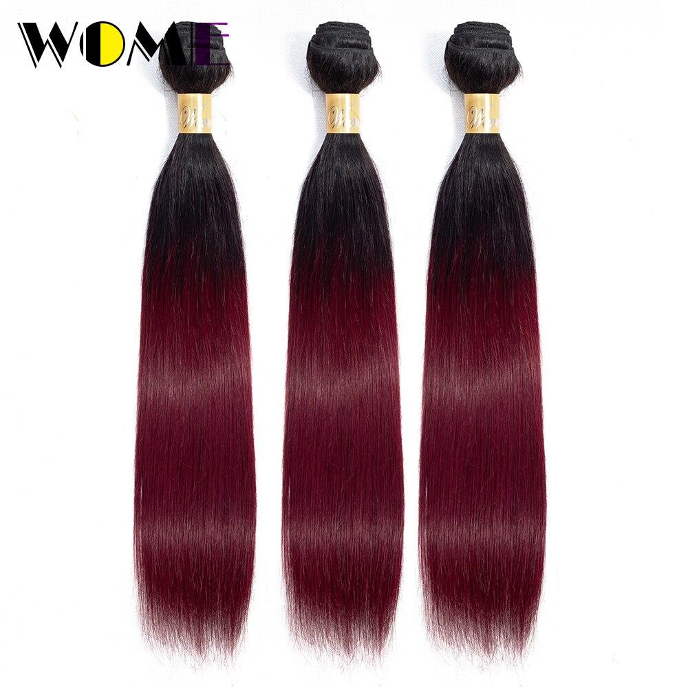 Wome Pre-colored 1B 99J Bundles Brazilian Straight Hair Ombre Human Hair Bundles 1b/99j Burgundy Black Red Ombre Non-remy Hair