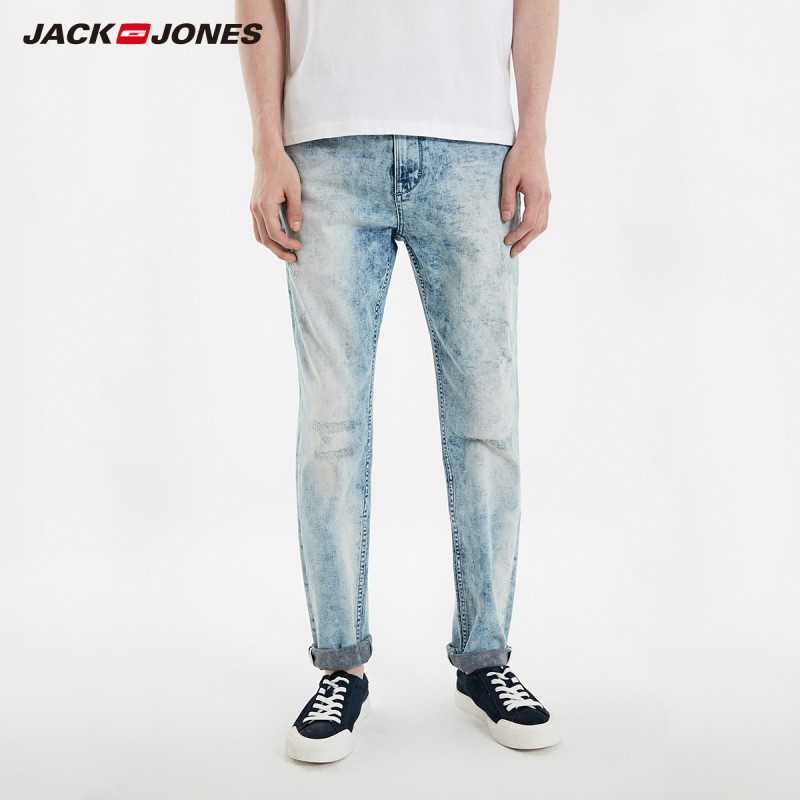 JackJones Men's Winter Skinny Frayed Washed Jeans Streetwear Menswear| 219132513