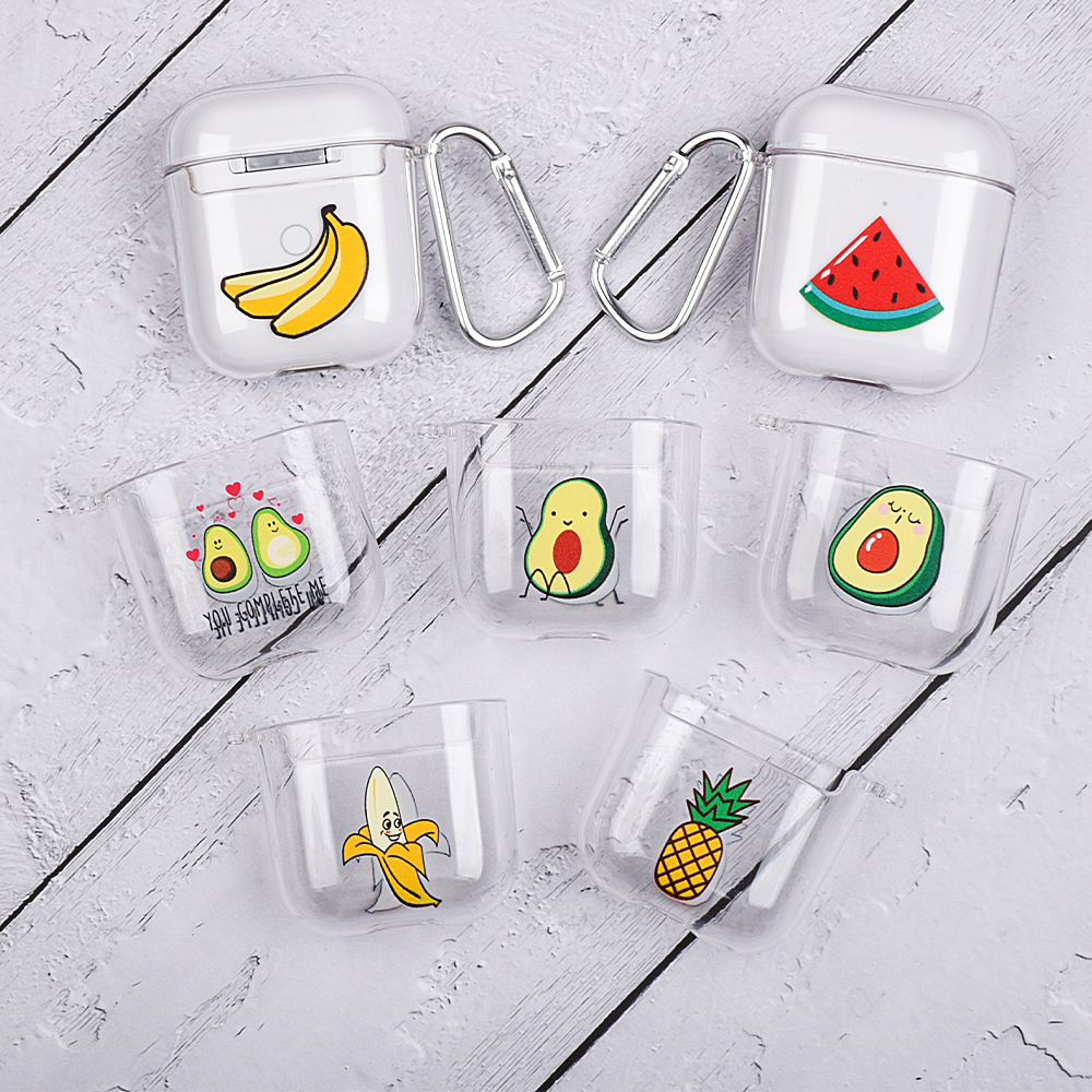 For Airpods 1 2 Transparent Hard PC Earphone Case For Air Pods Cute Cartoon Fruit Pattern Protective Cover Bluetooth Wireless