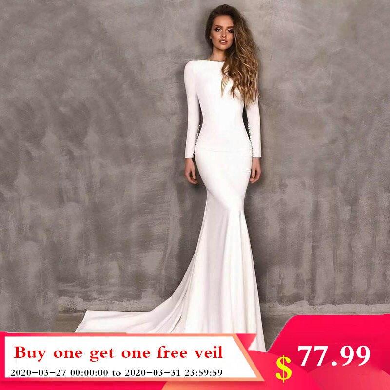 Smileven Mermaid Wedding Dresses Long Sleeve Elegant Boho Satin Bride Dress Wedding Gowns 2020 Vestido De Noiva