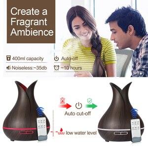 Image 4 - KBAYBO 400ml אולטרסאונד ארומה אוויר מכשיר אדים חיוני שמן מפזר עץ תבואה מטהר יצרנית ערפל LED אור עבור בית