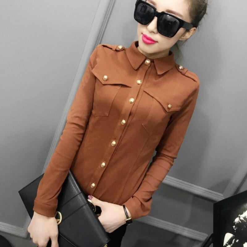 2020 Spring Long Sleeve Turn Down Collar Epaulet Cotton Shirts Women Button Cotton Blouses Women Epaulet Cotton Tops