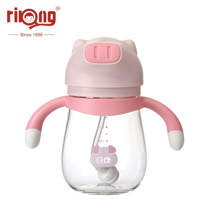 Rikang 250ml Kids Cup Straw Bottle Children Toddler Bottles Straw Handle Bottle Training Bottles Straw Cup  Baby Sippy Cup