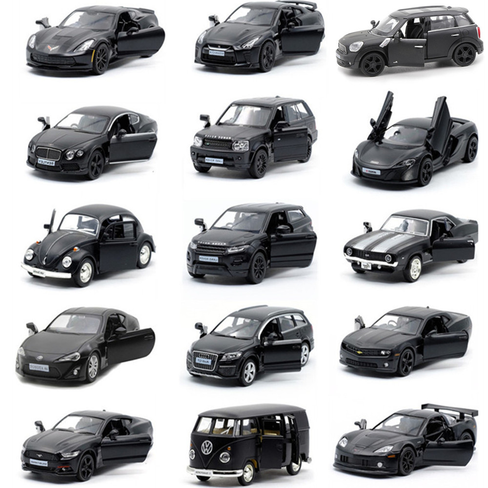 17 Style 1:36 Alloy Matte Black Cars Model,simulation Metal Die-cast Collection Pull Back Toy Car Model, Free Shipping
