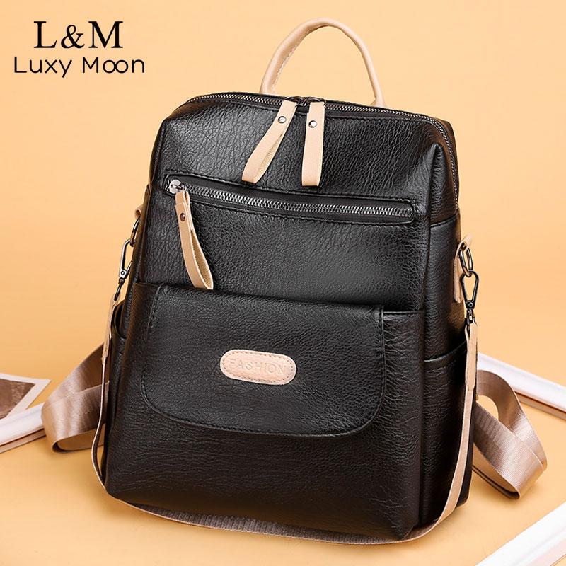Patchwork Backpack Women PU Leather School Bags For Teenage Girls Shoulder Bagpack Simple Travel Backpacks Mochila New XA643H