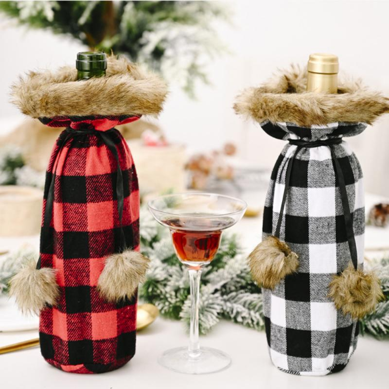 Christmas Wine Bottle Cover Merry Christmas Decoration For Home Natal Noel Christmas Decor Xmas Happy New Year Decorations 2021