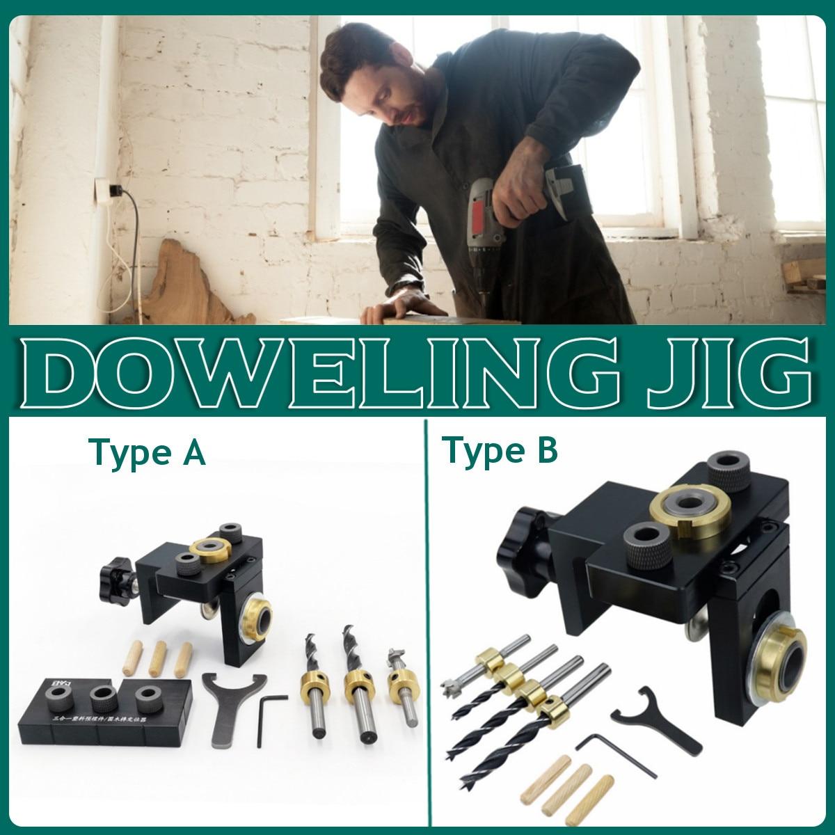 Doweling Jig Pocket Hole Jig Kit Wood Vertical Drilling Detachable Locator For Furniture Connecting Hole Puncher Carpentry DIY