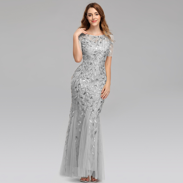 Plus Size Evening Dresses Mermaid O Neck Short Sleeve Lace Appliques Tulle Long Party Gown Robe Soiree Sexy Formal Dress vestido 3