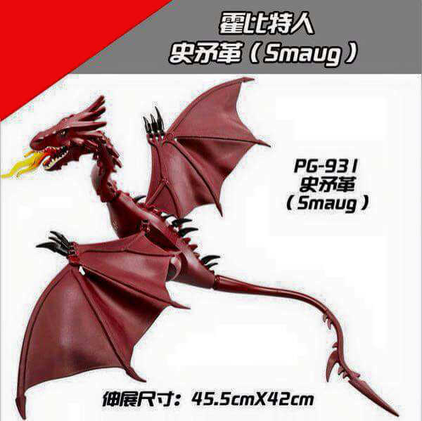 PG931 Legoing Smaug Smauging Big fire dragon Charizard dinosaur Lord of the Rings Hobbit match Assemble Human Collection toy