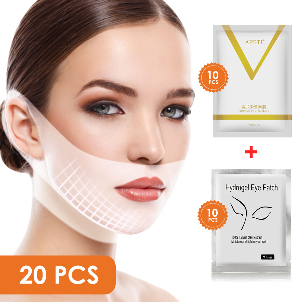Máscara de elevación de la barbilla en V + hidrogel de parche ocular, mascarilla hidratante para aliviar las arrugas del círculo oscuro para el cuidado de la cara|Tratamientos y mascarillas|   - AliExpress
