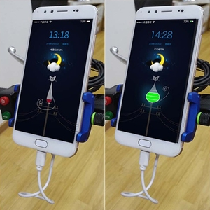 Image 4 - 1 Set 7x5x10cm Red/Black/Blue/Silver Metal Motorcycle Handlebar Phone Mount Holder with USB Charger for Smartphone