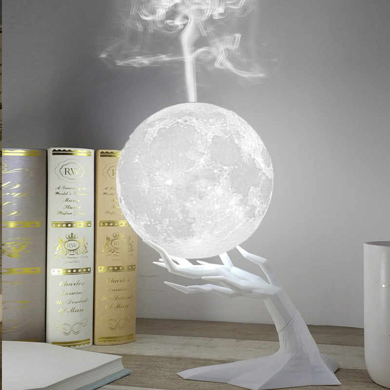880ML Ultrasonic Moon Air Humidifier Aroma Essential Oil Diffuser LED โคมไฟกลางคืน USB Mist Maker Humidificador Drop Ship