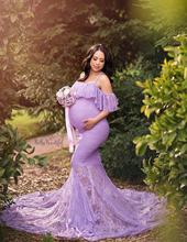 Mermaid Maternity Dresses For Photo Shoot Pregnant Women Pregnancy Dress Photography Props Sexy Off Shoulder Maxi Maternity Gown(China)