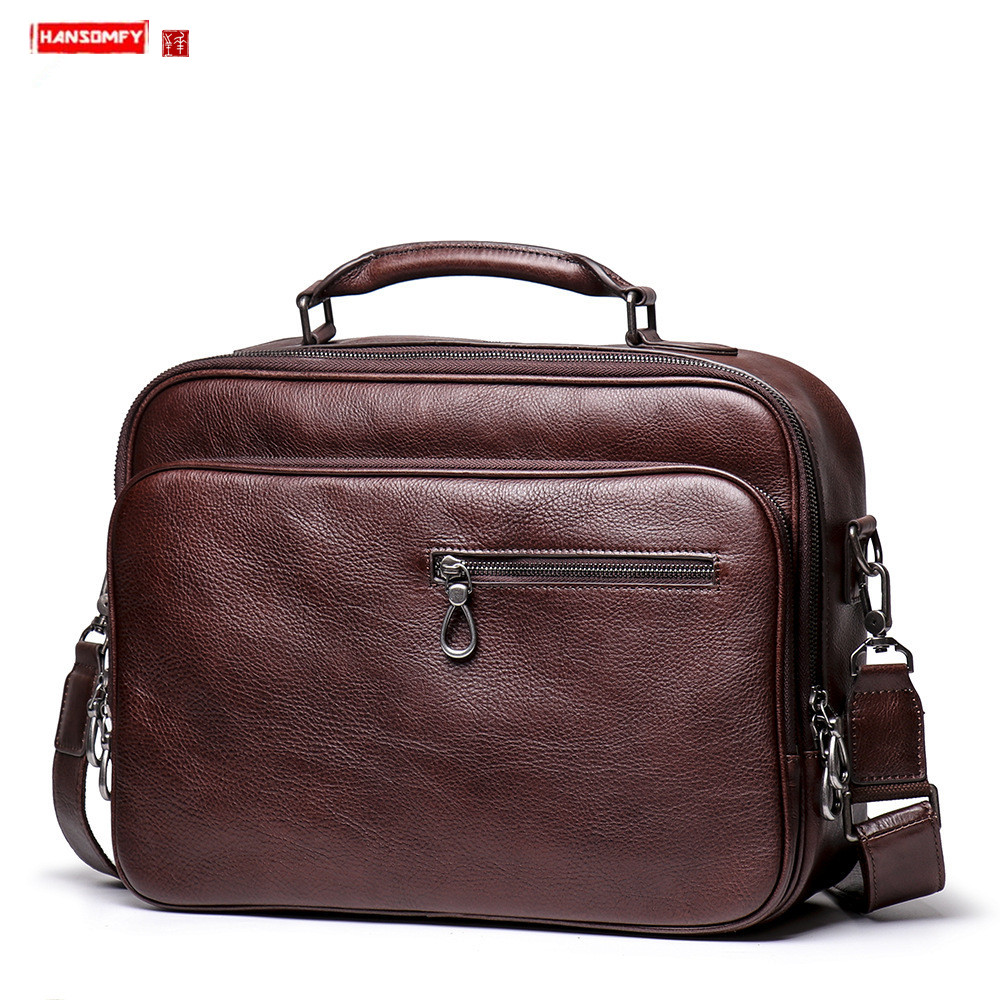 Factory New Handbag Men's Portable Genuine Leather Briefcase Women's Leather Shoulder Messenger Bag Computer Bag Travel 15.6