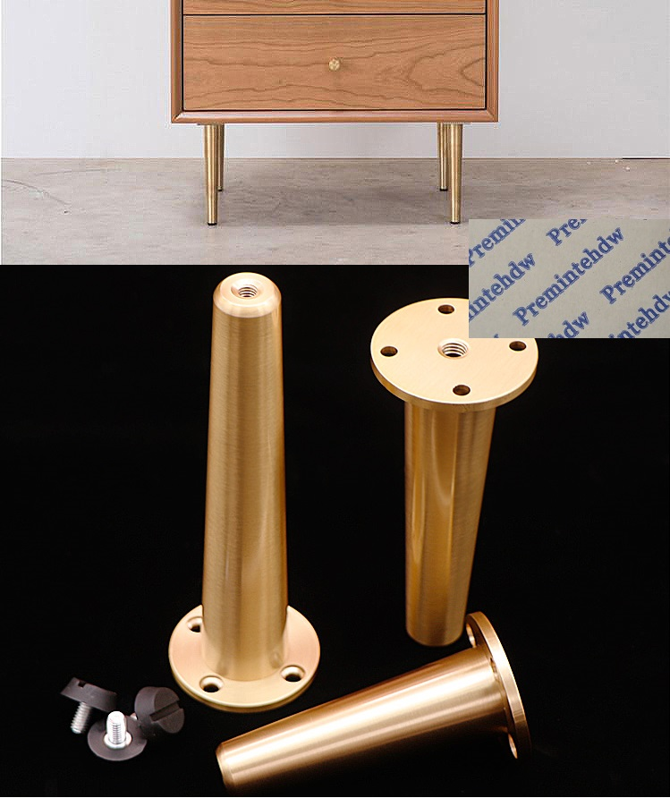 2Pcs/Lot Tapered Brass Mid-Century Furniture TV Cabinet Chair Seat Taper Leveling Feet Leveler
