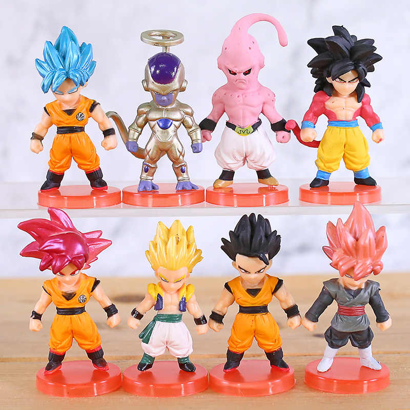 Dragon Ball Z Super Saiyan Goku Freeza Goku Gogeta Majin Buu Gohan Preto PVC Figuras Brinquedos 8 pçs/set