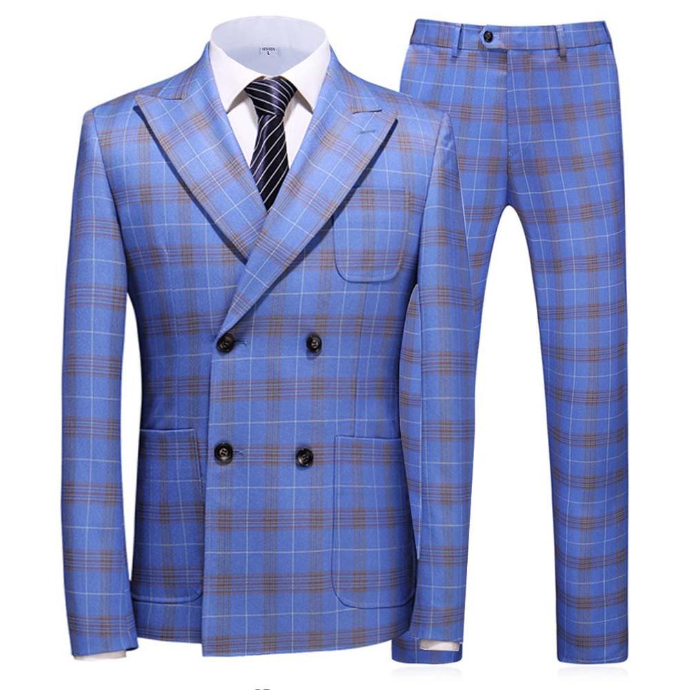 Men's Suit Double Breasted Plaid Tuxedos For Men Light-Blue Slim Fit Classic Design / Tailcoat Groomsmen 2 Pieces(Blazer +Pants)
