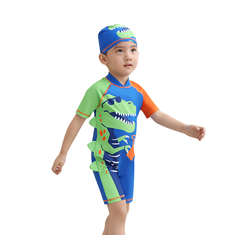 KID'S Swimwear 2019 One-piece Short Sleeve Shorts Small CHILDREN'S Swimming Suit Quick-Dry Children Diving Suit Wholesale