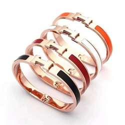 8 мм широкий золотой браслет из розового золота для женщин керамический пружинный браслет H буква эмаль Титановый стальной браслет