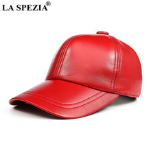 LA SPEZIA Baseball Cap Genuine Leather Solid Red Caps for Men Women Real Sheepskin Adjustable Unisex Spring Autumn Dad Hats