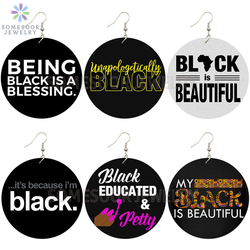 SOMESOOR Black Educated Petty Blessing African Wooden Drop Earrings Afro Power Sayings Both Printed Wood Jewelry For Women Gifts